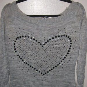 Sweaters - Large Gray Heart Sweater